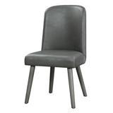 """Corrigan Studio® Fanke 23"""" X 22"""" X 39"""" Side Chair (Set-2) PU &Oak, For Dining Room () in Gray, Size 38.0 H x 22.0 W x 23.0 D in   Wayfair"""