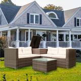 Latitude Run® 4 Piece Patio Sectional Wicker Rattan Outdoor Furniture Sofa Set w/ Storage Box Grey Wicker/Rattan in White | Wayfair