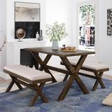 Gracie Oaks 3 Pieces Dining Table Set w/ 2 Upholstered BenchesWood/Upholstered Chairs in Black/Brown, Size 30.1 H x 29.6 W x 45.5 D in   Wayfair