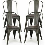 Williston Forge 4 Pcs Style Metal Dining Side Chair Stackable Wood Seat,White in Black/Brown, Size 33.5 H x 18.0 W x 18.0 D in | Wayfair