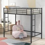 Isabelle & Max™ Fraley Twin Platform Loft Bed by Isabelle & Max™ Metal in Black, Size 41.4 W x 75.0 D in | Wayfair