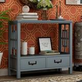 Breakwater Bay TREXM Console Sofa Table w/ Two Bottom Drawers, Farmhouse Narrow Sofa Table For Entryway (White) Wood in Blue | Wayfair