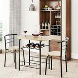 Ebern Designs 3 Pcs Home Kitchen Bistro Pub Dining Table 2 Chairs Set-Natural, Size 29.5 H x 21.0 W x 31.5 D in | Wayfair