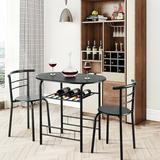 Latitude Run® 3 Pcs Home Kitchen Bistro Pub Dining Table 2 Chairs Set in Black, Size 30.0 H x 32.0 W x 21.0 D in | Wayfair