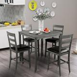 Red Barrel Studio® Square Counter Height Wooden Kitchen Dining Set, Dining Room Set w/ Table & 4 Chairs (Grey) Wood/Upholstered Chairs in Black