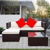Breakwater Bay 3 PCS Outdoor Patio Sectional Wicker Rattan Furniture Sofa Set Metal/Wicker/Rattan in White, Size 25.6 H x 27.1 W x 70.0 D in Wayfair