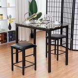 Red Barrel Studio® 3 Pcs Counter Height Dining Set Faux Marble Table in, Brown/Black in, Brown in Black/Brown/White | Wayfair