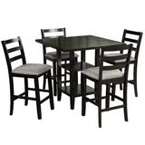 Red Barrel Studio® 5-Piece Wooden Counter Height Dining Set Square Dining Table w/ 2-Tier Storage Shelving & 4 Padded Chairs Wood/Upholstered Chairs