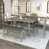 Gracie Oaks 6 Piece Dining Table Set Wood Dining Table & Chair Kitchen Table Set w/ Table, Bench & 4 Chairs, Rustic Style Wood/Upholstered Chairs
