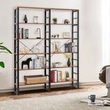"17 Stories 80.7"" Double Wide 6-Shelf Bookcase Industrial Metal Storage Shelf in Black/Brown/Green, Size 80.0 H x 60.0 W x 13.5 D in | Wayfair"