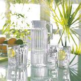 Prep & Savour Glass Pitcher w/ Lid & Spout, Glass Carafe, Sun Tea Pitcher, Glass Jug For Homemade Juice & Iced Tea, Glass Water Pitcher Fridge