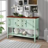 Rosalind Wheeler Cambridge Series Buffet Sideboard Console Table w/ Bottom Shelf (Antique Gray) Wood in Green/Brown | Wayfair