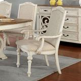 One Allium Way® Bushman Arm Chair Wood/Upholstered/Fabric in White/Brown, Size 42.25 H x 27.5 W x 26.0 D in | Wayfair