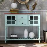 Darby Home Co Sideboard Console Table w/ Bottom Shelf, Farmhouse Wood/Glass Buffet Storage Cabinet Living Room (Retro Blue) Wood in White | Wayfair