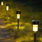 wisdomfurnitureco Solar Pathway Lights 12 Pack, Stainless Steel IP44 Waterproof Auto On/Off Outdoor LED Solar Landscape Lights For Garden, Yard