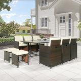 Latitude Run® Outdoor Furniture Rattan Wicker Patio Dining Table Set Wicker/Rattan in Brown, Size 29.1 H x 43.3 W x 65.0 D in | Wayfair