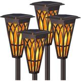 ZWISSLIV Solar Torch Lights – Solar Flame Torch Lights Outdoor 2 Modes Always-On/Flickering Flame Matte Lampshade Auto On/Off Pathway Lights Solar Powered Stai