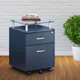 Inbox Zero Rolling File Cabinet w/ Glass Top in Blue, Size 24.0 H x 15.5 W x 17.5 D in   Wayfair 86042D028E0746D7BD1C33DD362DB367