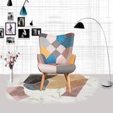 Corrigan Studio® Patchwork Armchair Sets Sofachair Linen/Linen Blend in Brown/Green/Indigo, Size 38.6 H x 26.8 W x 30.0 D in | Wayfair