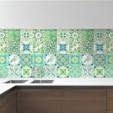 "Walplus 6"" x 6"" PVC Peel & Stick Field Tile Vinyl/PVC in Green, Size 5.91 H x 5.91 W x 0.01 D in   Wayfair WT1520X4"