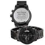 Your Watch Design. Biker Dad Father's Day Gift Watch. Black Chronograph Watch. Stainless Steel