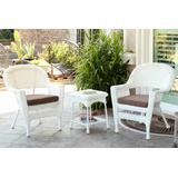 White Wicker Chair And End Table Set With Brown Chair Cushion- Jeco Wholesale W00206_2-CES007