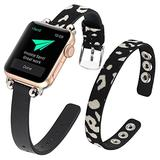 WOHAVING Slim Beaded Leather Wrap Bracelet Compatible with Apple Watch Band 38mm 40mm Women Lady, Adjustable Thin Jewelry Boho Stylish Cuff Bangle Watch Strap Wriatband for iWatch Bands Series SE 6 5 4 3 2 1 (Black White Leopard)