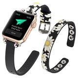 WOHAVING Slim Beaded Leather Wrap Bracelet Compatible with Apple Watch Band 38mm 40mm Women Lady, Adjustable Thin Jewelry Boho Stylish Cuff Bangle Watch Strap Wriatband for iWatch Bands Series SE 6 5 4 3 2 1 (Black Daisy)