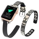WOHAVING Slim Beaded Leather Wrap Bracelet Compatible with Apple Watch Band 38mm 40mm Women Lady, Adjustable Thin Jewelry Boho Stylish Cuff Bangle Watch Strap Wriatband for iWatch Bands Series SE 6 5 4 3 2 1 (Black Stitching Grid)
