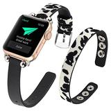 WOHAVING Slim Beaded Leather Wrap Bracelet Compatible with Apple Watch Band 38mm 40mm Women Lady, Adjustable Thin Jewelry Boho Stylish Cuff Bangle Watch Strap Wriatband for iWatch Bands Series SE 6 5 4 3 2 1 (White Black Leopard)