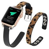 WOHAVING Slim Beaded Leather Wrap Bracelet Compatible with Apple Watch Band 38mm 40mm Women Lady, Adjustable Thin Jewelry Boho Stylish Cuff Bangle Watch Strap Wriatband for iWatch Bands Series SE 6 5 4 3 2 1 (Brown Black Leopard)