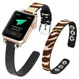 WOHAVING Slim Beaded Leather Wrap Bracelet Compatible with Apple Watch Band 38mm 40mm Women Lady, Adjustable Thin Jewelry Boho Stylish Cuff Bangle Watch Strap Wriatband for iWatch Bands Series SE 6 5 4 3 2 1 (Brown White Zebra)