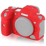 STSEETOP Canon R5 Case, Professional Silicone Rubber Detachable Protective Camera Case Cover, Compatible with Canon R5 (Red)
