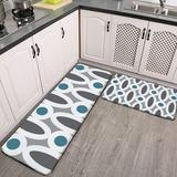 CAHUI1 2 Pieces Kitchen Rugs and Mat,Modern Oval Links Pattern in Teal and Grey Non-Slip Kitchen Mats and Rugs Soft Flannel Non-Slip Area Runner Rugs for Living Room Bedroom Kitchen