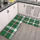 CAHUI1 2 Pieces Kitchen Rugs and Mat,Green Red Blue White Cool Lumberjack Plaid Pattern Non-Slip Kitchen Mats and Rugs Soft Flannel Non-Slip Area Runner Rugs for Living Room Bedroom Kitchen