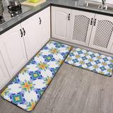 CAHUI1 2 Pieces Kitchen Rugs and Mat,White Orange Blue Green Mosaic Tile Pattern Non-Slip Kitchen Mats and Rugs Soft Flannel Non-Slip Area Runner Rugs for Living Room Bedroom Kitchen