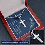 Personalized Cross Necklace, Engraved Cross Necklace, Promise Necklace Him, Cross Gift Necklace, Engraved Necklace Cross