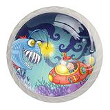 Monster Fish and Submarine Knobs for Kitchen Cabinets 4 Pack Round Glass Cabinet Knobs for Dresser Cabinets with Screws Crystal Glass Drawer Cabinet Pull Knob Handle Kitchen Door Wardrobe Hardware