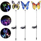 Solar Garden Stake Lights, 3 Pack Garden Solar Lights Outdoor, Multi-Color Changing LED Garden Lights, Waterproof Solar Butterfly Lights Outdoor for Garden, Pathway, Lawn, Yard Art, Patio, Decorations