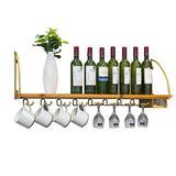 LSNLNN Wine Racks,Organize Kitchen Wood Wall Mounted Wine Racks/Shelf Kitchen Wine Bottle Storage Holder Wall Wine Glass Goblet Shees, Gloden/Black/Commercial Cellars Clubs,Golden,120Cm