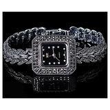 CHXISHOP 925 Sterling Silver Watch Retro Ethnic Style Black Dial Inlaid Diamond Quartz Watch Gothic Women's Bracelet Watch Black- L