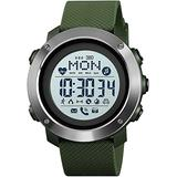 Outdoor Sports Watch Heart Rate Monitoring Bluetooth Music Control Compass Exercise Step Counter 30 Meters Waterproof First Choice for Gifts Army Green A-Army Green B