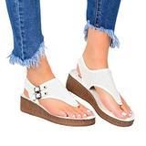 XIALIUXIA Espadrilles for Women Wedge, Platform T Strap Sandals Fashion Summer Beach Sandals Slingback Open Toe Sandals Casual Roman Shoes,B,35
