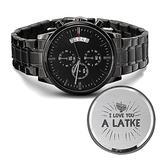 SmallWonderGifts Jewish Engraved Design Black Chronograph Watch I Love You a Latke Hanukkah Present for Men