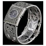 CHXISHOP Women's Square 925 Silver Watch Watches Quartz Movement Watch Square Design Inlaid Diamond Watches Black Gothic Retro Bracelet Watch black-18.5cm