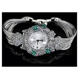 CHXISHOP 925 Sterling Silver Watch Bracelet Elegant Sterling Silver Wire Strap Round White Dial with Diamond Quartz Movement Classic Watch White- L