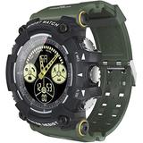Outdoor Smart Watch Sports Step Counter 5ATM Waterproof Phone Reminder Luminous Dial The Best Gift for Outdoor Lovers ArmyGreen-Army Green