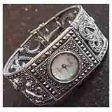 CHXISHOP Women's Square 925 Silver Watch Watches Quartz Movement Watch Square Design Inlaid Diamond Watches Black Gothic Retro Bracelet Watch White-17cm