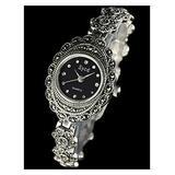 CHXISHOP Women's Bracelet Watch 925 Sterling Silver Quartz Movement Watch Oval Vintage Bracelet Watch Sapphire Crystal Watch black-18.5cm