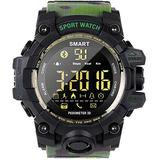 Outdoor Smart Watch Sports Camouflage Style Full-time Step Counter Bluetooth 4.0 Dual Structure of External Toughness and Internal Toughness Black-Army Green